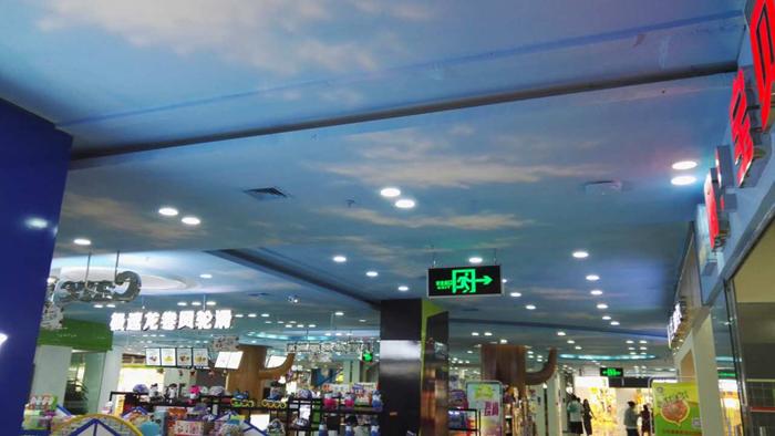 【商场蓝天白云彩绘项目案例】——郑州鑫苑·鑫都汇